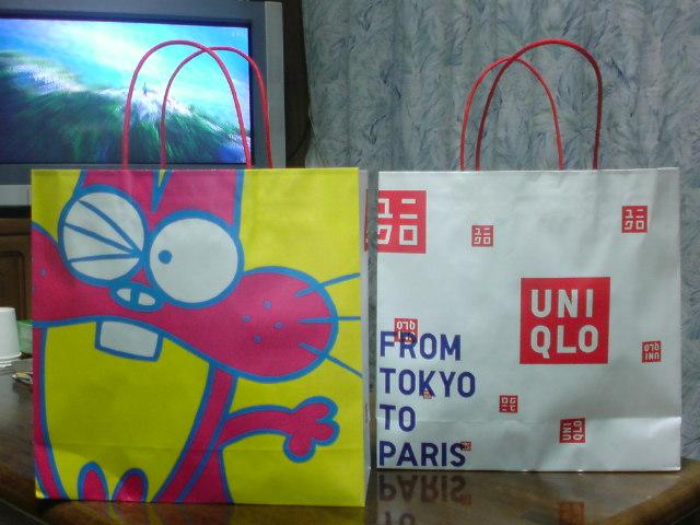 ユニクロでニャロメの紙袋を貰う。